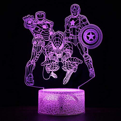 Iron Man Serie 3d nachtlampje kleine tafellamp geleid afstandsbediening kleurrijke sfeer lamp jongens vakantie verjaardagscadeau