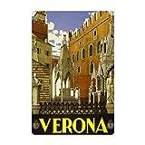DJNGN Verona - Letrero de metal para pared, diseño vintage, 20,3 x 30,5 cm