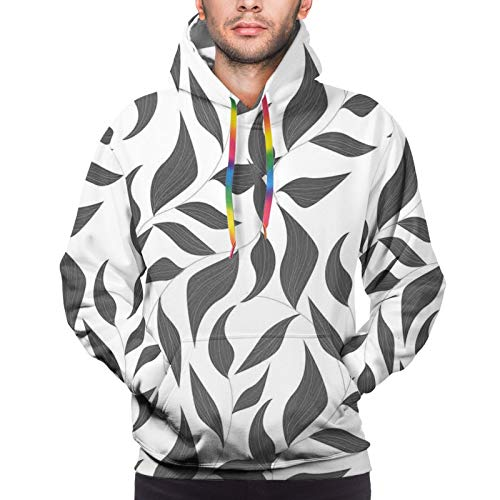 Men's Hoodies Sweatshirts,Abstract Leaves On Vines Pattern Modern Nature with Organic Line Forms Print,Large