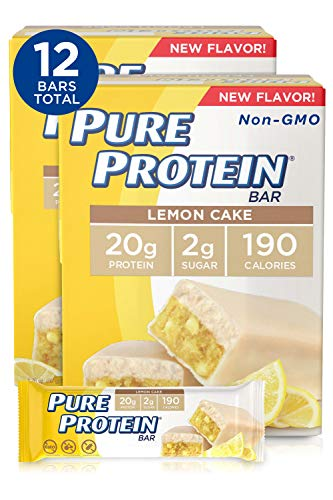 Pure Protein Bars, High Protein, Nutritious Snacks to Support Energy, Low Sugar, Gluten Free, Lemon Cake, (6 Count of 1.76 oz Bars) 10.56 oz, Pack of 2
