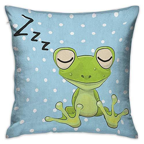 Fundas de almohada cuadradas de dibujos animados con cremallera Príncipe durmiente Rana en una gorra Fondo de lunares Lindo mundo animal Diseño para niños Fundas de cojín verde azul Fundas de almohada