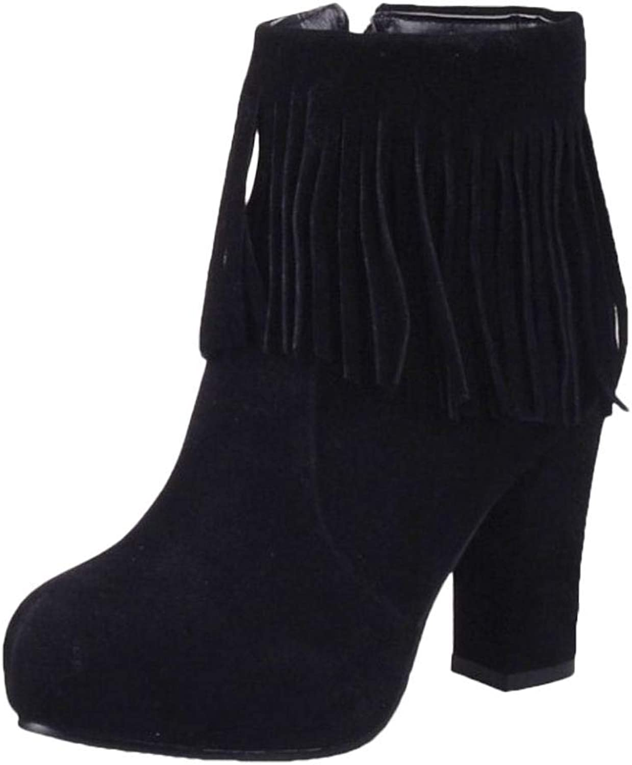 Wallhewb Women's Chunky Fringed Boot Girls Round Toe Comfortable Dress Ankle Boots Micropile Elegant with Heels Pants Rubber Sole Fashion Skinny Zipper Black 5 M US Fringed Boot