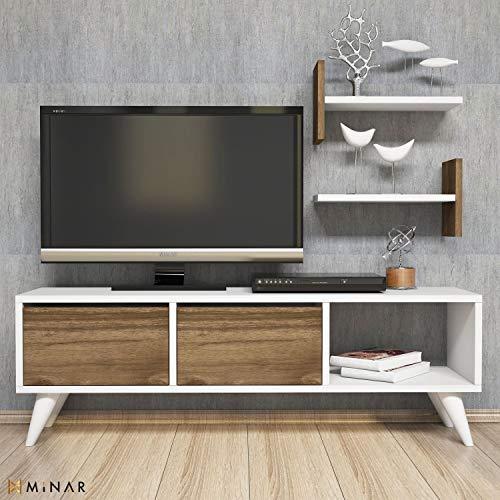 MINAR by Homemania Puerto TV, Mueble para la televisión Flor, Color Blanco, Nuez