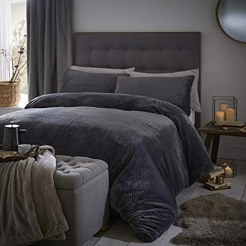 Silentnight Winter Waffle Fleecy Duvet Cover and Pillowcase Pair Bedding Set, Charcoal, Double