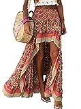 BTFBM Women Boho Floral Print Long Skirt Chic High Low...