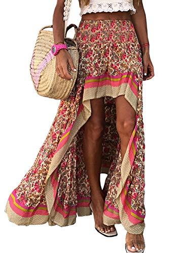 BTFBM Women Boho Floral Print Long Skirt Chic High Low Side Split Ruffle Hem Elastic Waist Swing Maxi Cotton Dress (X-Red, Small)
