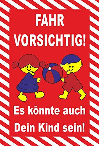 Schild 30x20cm Spielende Kinder - Fahr vorsichtig - 3mm Aluverbund - 20 Varianten