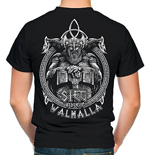 Sieg oder Walhalla Männer und Herren T-Shirt   Odin Wikinger Valhalla Geschenk   M1 FB (L, Schwarz)