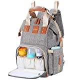 AISPARKY Diaper Bag Nappy Backpack Multi-Function Waterproof Travel Nappy Bag for Baby Care, Large Capacity, Durable and Stylish Changing Bag for Mom and Dad (Grey/Gold)