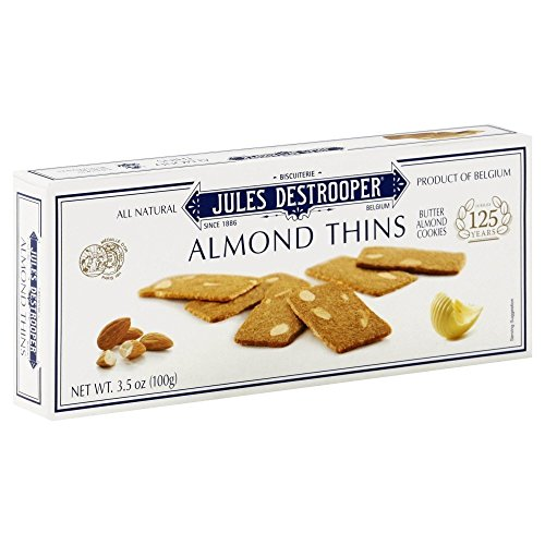 Jules Destrooper Almond Thins - Caramelized Butter Biscuits, Kosher Dairy, Authentic Made In Belgium - 3.5oz (Pack of 4)