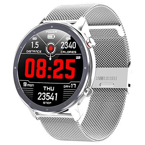 Smartwatch,Fitness Watch Uhr Voller Touch Screen Fitness Uhr IP68 Wasserdicht Fitness Tracker Sportuhr mit Schrittzähler Pulsuhren Stoppuhr für Damen Herren Smart Watch für iOS Android Handy(Silber)