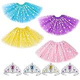 Hifot Tutu niña Vestidos Ballet con Tiaras 4 Piezas, Falda Tul Corona Princesa Disfraz Niñas Regalo 2-8 años