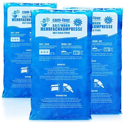 com-four® 3X Compresa del Gel instantanea - Compresas frías y Calientes - Bolsa de Gel Calor instantaneo - Apto para microondas del Gel Frio (03 Piezas - Muy Grande)