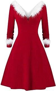 Harpily Vestito Natale Donna Sexy con V Collare Vestito Lungo Irregolare Elegante Vestito Pelliccia Ecologica Peluche Knit...