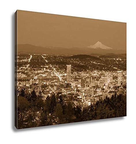 Ashley Canvas Beautiful Night Vista of Portland Oregon, Kitchen Bedroom Living Room Art, Sepia 24x30, AG6508438