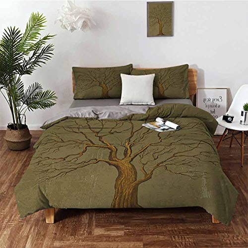 DRAGON VINES Crib Sheets Tree Hotel Bed Sheets Queen Set Illustration of A Big Tree on Antique Old Paper Vintage Style Artwork Design W79 xL90 Olive Green