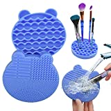 Makeup Brush Cleaning Mat and Brush Drying Storage Stand Holder Remove Facial Makeup Naturally and Clean Makeup Brushes Instantly (blue) (Blue)