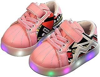 edv0d2v266 Baby Kids Children Boys Girls Luminous Glowing Led Light Up Flat Magic Stick Trainer Sports Sneakers Shoes
