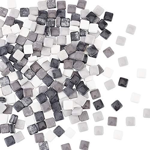 PandaHall 190 piezas de 12 mm cuadrados de cristal espejo azulejos mini de cristal decorativos para decoración del hogar, manualidades, fabricación de joyas, negro/blanco/gris