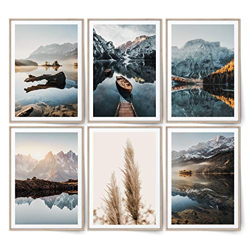 BLCKART Infinity Dreamy Mountains Bilder Set Stilvolle Beidseitige Schilf Poster Berge Wohnzimmer Skandinavische Deko (M   6x A4   21 x 29,7 cm   ohne Rahmen, DREAMY MOUNTAINS   PAMPAS)