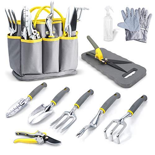 Jardineer Gartenwerkzeug Set, 11 in 1 Gartengeräte Set, Robuste Gartenwerkzeug mit Ergonomische Anti-Rutsch-Griff, Werkzeugbeutel inkl, Gartenwerkzeuge-Geschenkset