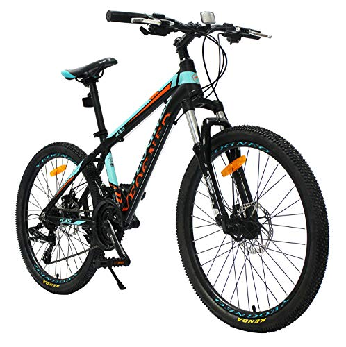 YEOGNED 24' Suspension Variable Speed Aluminum Mountain Bike, 21 Speed Disc Brake, Suitable for Teenagers Aged 16+ 4 Colors (Blue)