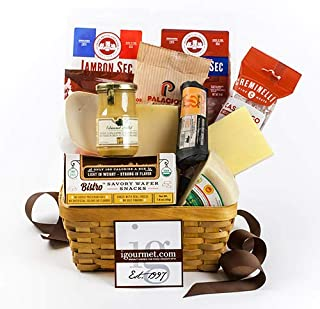 igourmet Connoisseur's Gourmet Meats and Cheese assortment Gift Basket - Box - Perfect for picnics and gatherings