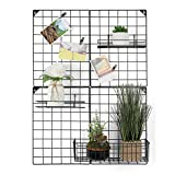 NEX Grid Photo Wall, Grid Panel for Photo Hanging Display, Multifunctional Metal Mesh Wall DIY Decor Storage Organizer, 3 Wire Baskets, 20 Iron Clips, 32.68'' x 23.82'', Black