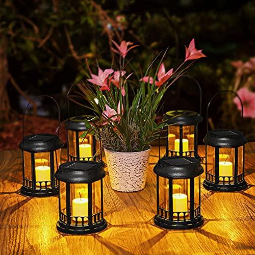 6 Pezzi Lanterna Solari Giardino, Ulmisfee Luce Solare Esterno LED Lanterna Solari IP44 Impermeabile Lampada Solare da Esterno Decorative per Feste, Cortile, Passerella, Feste (Nero)