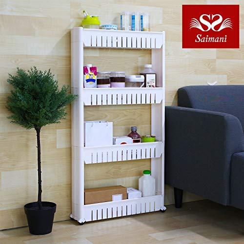 Saimani 4 Layer Space Saving Storage Organizer Rack Shelf with Wheels for Kitchen Bathroom Bedroom