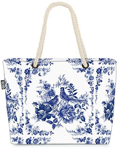 VOID Fasan Blumenbukett Strandtasche Shopper 58x38x16cm 23L XXL Einkaufstasche Tasche Reisetasche Beach Bag