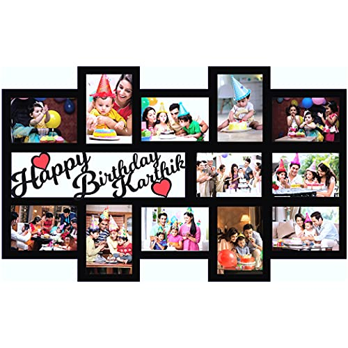 GiftsWale Happy Birthday Your Name & Images Customized Collage Photo Frame   Personalized With 12 Pictures And Texts   Best Gift For Kids, Sister, Brother, Husband, Wife, Friend, Mom And Dad