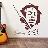 JIMMY HENDRIX Música Wall Art Vinyl Sticker Decal Mural Extraíble Decoración Del Hogar Etiqueta de La Pared Dormitorio DIY Mural 57x62 cm