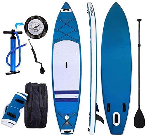 FANLIU Inflable Paddleboard Paddle Palmetazos Tabla de Surf Stand-Up Paddle Board con la Paleta Ajustable + Grande Bolsa de Transporte de Aire for Las Personas jóvenes y Adultas