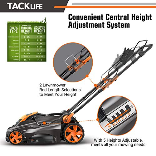 TACKLIFE Corded Electric Lawn Mower 13 Amp, 16 Inch Lawn Mower, 5 Cutting Heights, Vertical Storage, Tool-Free Assembly, Quick Folding