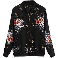 Overdose Las Nuevas SeñOras De Las Mujeres Retro Floral O-Cuello Zipper Up Bomber Mejor Venden Chaqueta Casual Outwear (L, M-Negro)