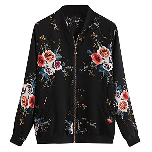 Mllkcao Winter Women's Jacket Coat Jacket Outerwear Ladies Gift for Womens Retro Floral Printing Zipper Up Bomber Jacket Casual Coat Outwear Black