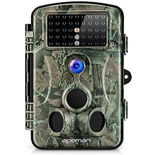 Apeman Cámara de Caza 12MP y 1080P HD Trail Cámara con Gran Angular de 120° y 42pcs IR Leds Visión Nocturna con hasta 20M Cámara de Fauna con Protección de Salpicaduras Protección de Salpicaduras