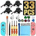 Joycon Joystick Replacement 3D Joystick Analog Left/Right Thumb Sticks Sensor Caps for Nintendo Switch Joy Con Controller, Joycon Repair Kit, NS Repair Tool 33 PCS