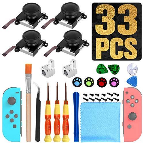 [New Version] 4 Pack Joycon Joystick Replacement 3D Joystick Analog Left/Right Thumb Sticks Sensor Caps for Nintendo Switch Joy Con Controller, Joycon Repair Kit, NS Repair Tool 33 PCS