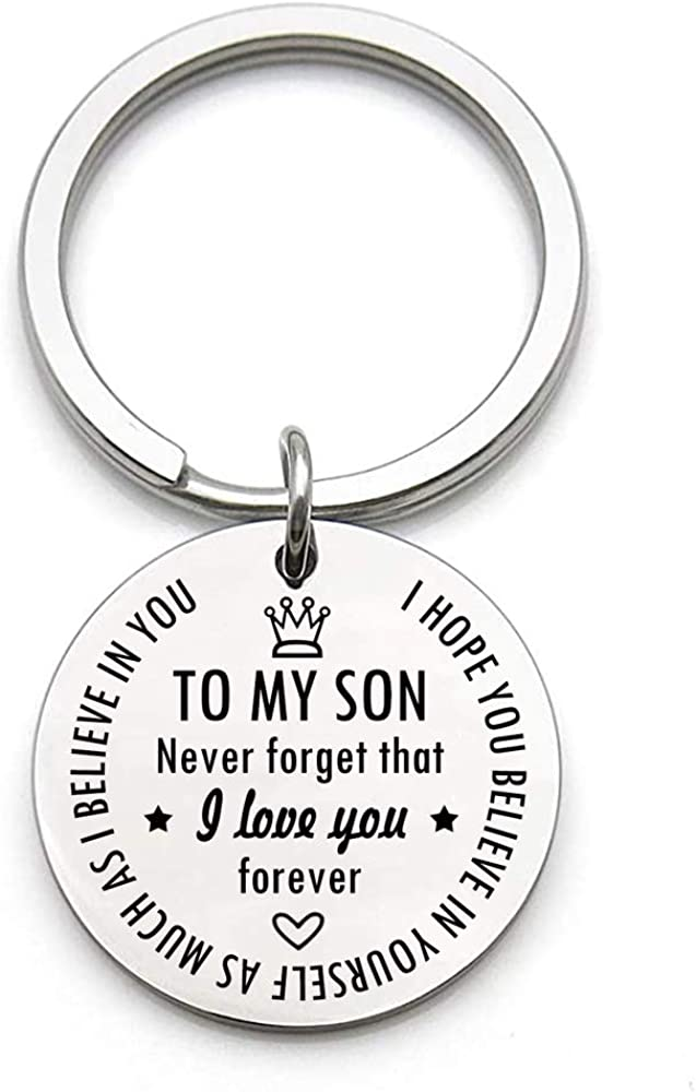 Inspirational Gifts Keychain for Son Boy Him Hop Dad from Factory outlet I Mom favorite