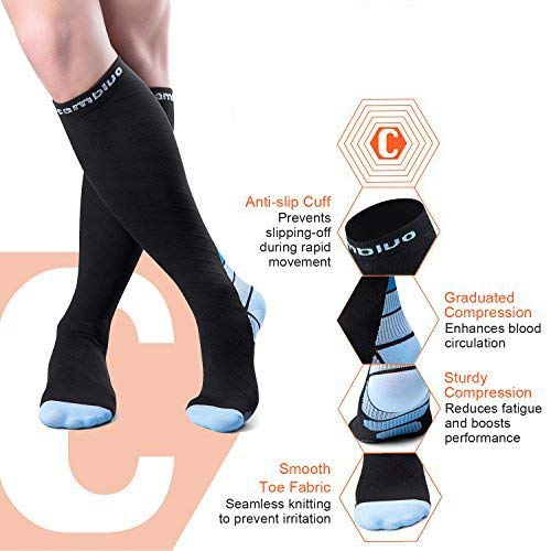 CAMBIVO Compression Socks for Women and Men(2 Pairs, S/M Blue)