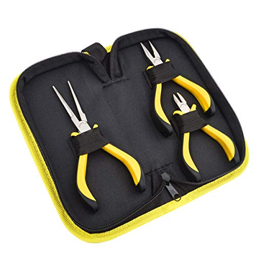 3pezzi mini pinze, set di attrezzi per realizzare gioielli, pinza a becco piatto, pinza a becco lungo, tronchesina a taglio laterale