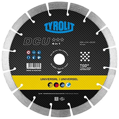 Tyrolit 704617 Diamant-Trennscheibe DCU, 4 in 1 für Baumaterialien, 230 mm x 2,4 mm/14 mm