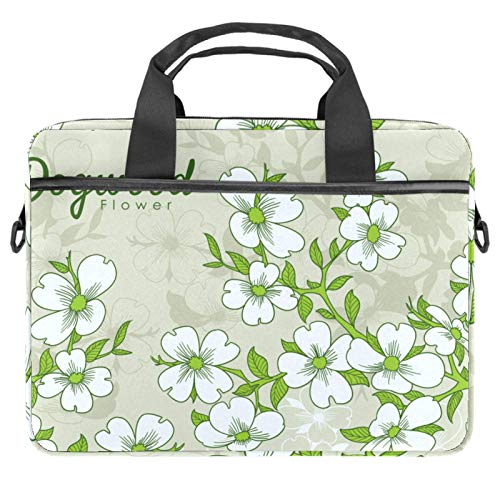 Laptop Tote Bag Computer Rucksack Compatible with Chromebook, MacBook Pro Hand Drawn Dogwood Flowers