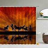 WILLMEIH duschvorhang Stoff waschbar Pferd Tier See Sonnenuntergang 54