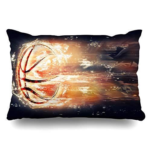 Exploding - Funda de cojín de color rojo abstracto con diseño de balón de baloncesto volador para actividades de recreación de llamas y éxito, 40 x 60 cm, para decoración del hogar, sofá, funda de almohada, regalo de Navidad o cumpleaños
