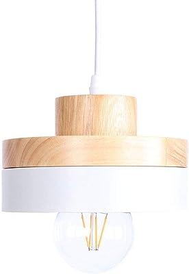 Iluminación Luz De Techo Lámpara Colgante Luz Redonda Europea Del Estilo E27 Led Simple De Madera