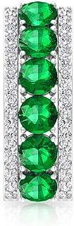 1.76 CT Lab Created Emerald Moissanite Half Hoop Earring, Antique Halo Bridal Wedding Anniversary Earrings, Women Birthday...