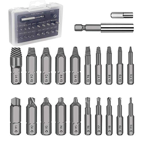 20 PCS Damaged Screw Extractor Set, For Extractor Drill Bit Bolt Stud Remover Tool Set with White Storage Case, With Magnetic Extension Bit Holder & Socket Adapter